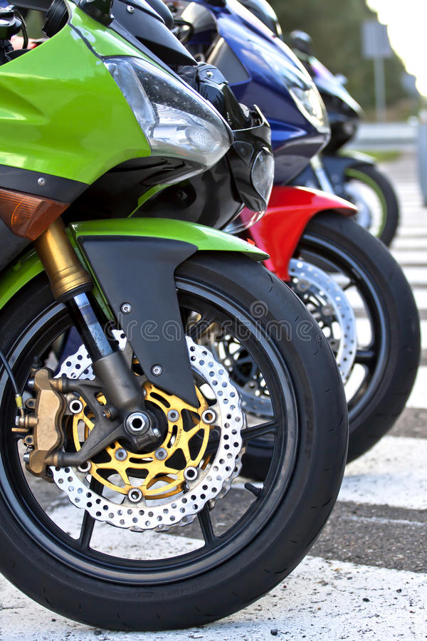 Motorbikes on the Road. Side View stock photography