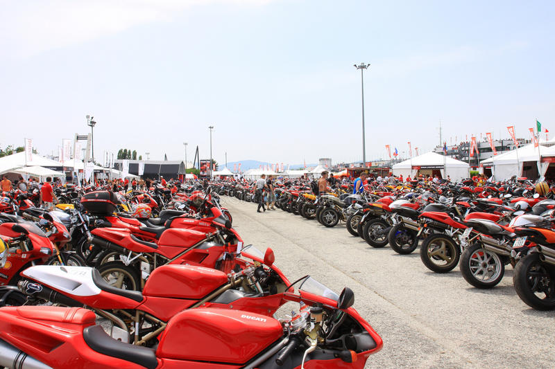 Motorbikes at the World Ducati Week 2010 event. stock photo