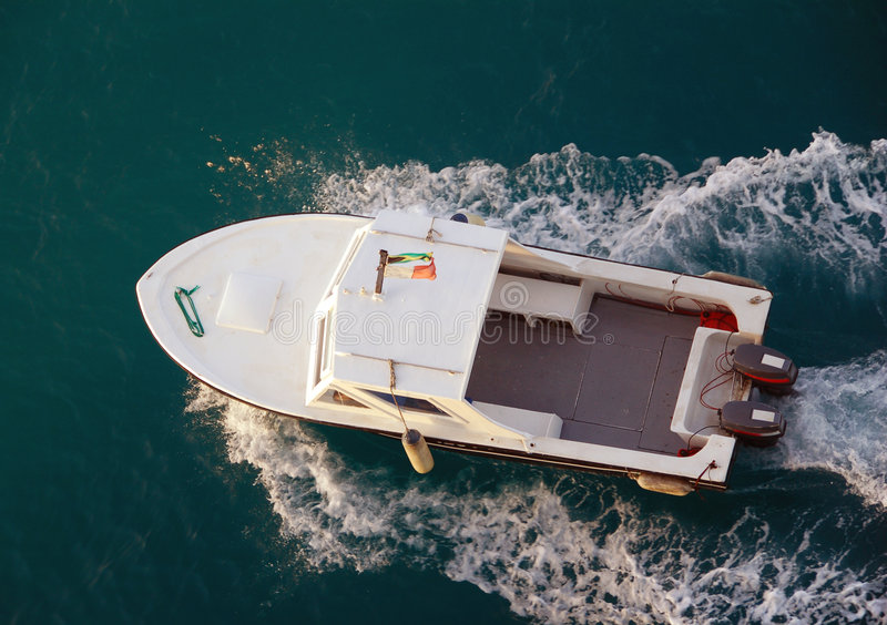 Motorboat from above stock images