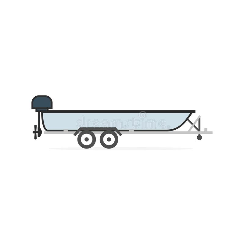 Motorboat on car trailer royalty free illustration
