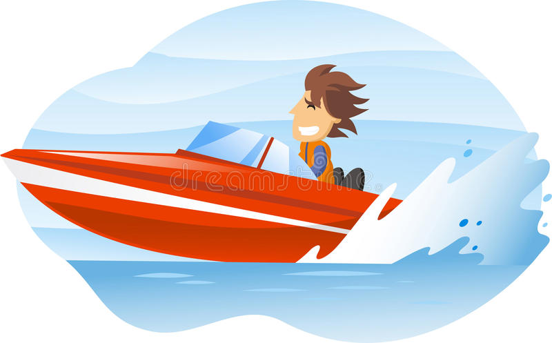 Motorboat illustration. Cartoon illustration of a man driving an speedboat royalty free illustration