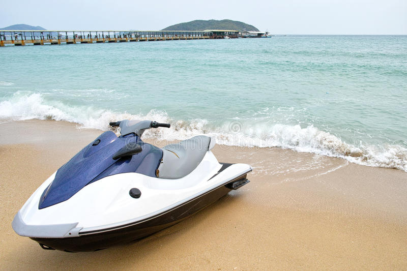 Motorboat. The motorboat parks on seabeach stock images