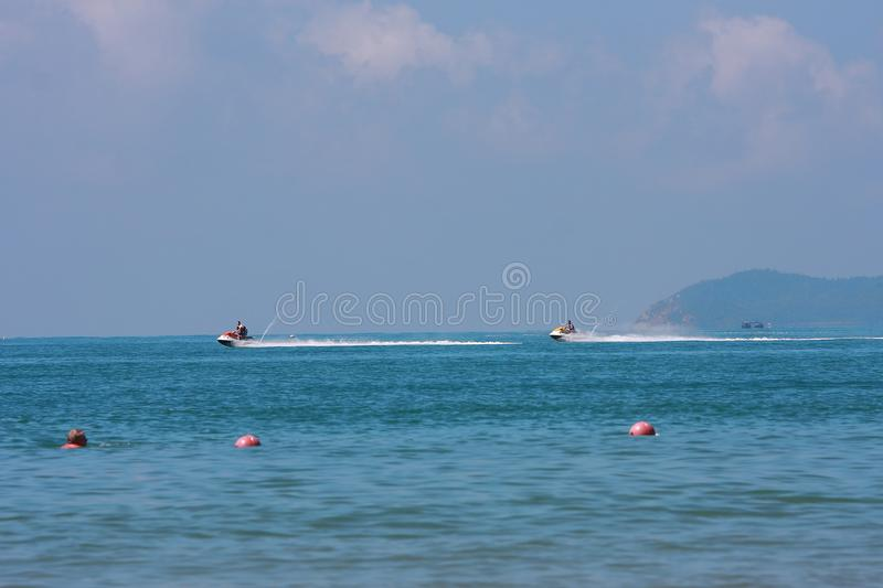 Motorboat on sea royalty free stock image