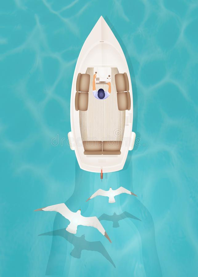 Motorboat seen from above. Illustration of motorboat seen from above stock illustration
