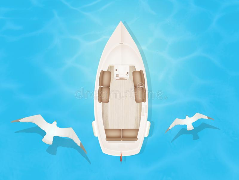 Motorboat seen from above. Illustration of motorboat seen from above royalty free illustration