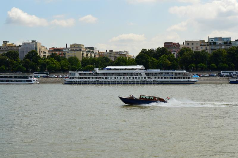 Motorboat on the Danube, Budapest, Hungary stock image
