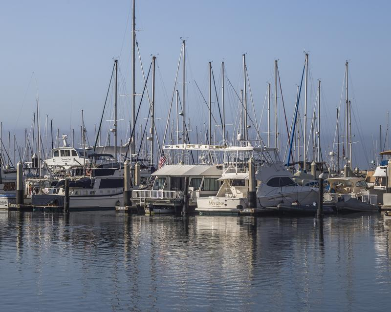 Motorboats docking at the Santa Barbara marina,California royalty free stock image