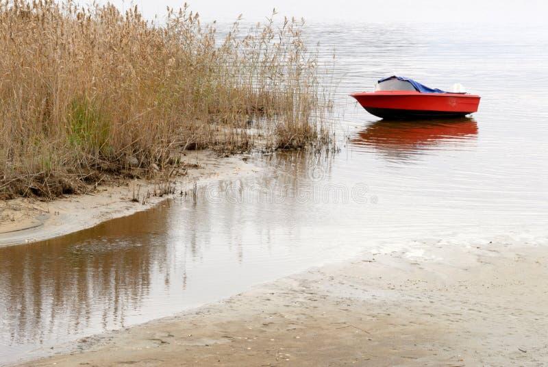 Motorboot en riet op lakeshore in de herfst stock foto's