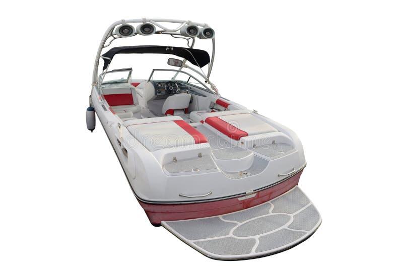 Motorboot lokalisiert auf einem weißen Hintergrund lizenzfreies stockbild