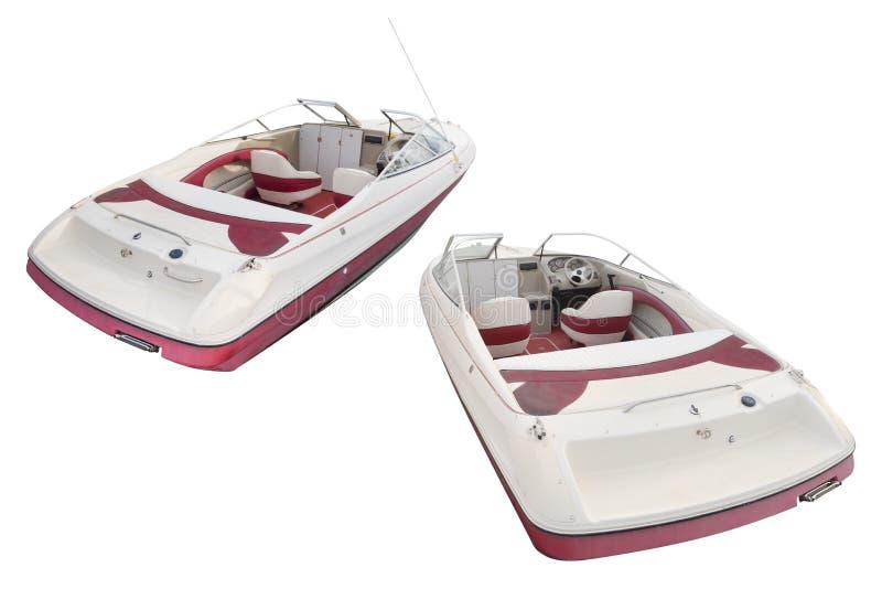 Motorboot lokalisiert auf einem weißen Hintergrund stockbild