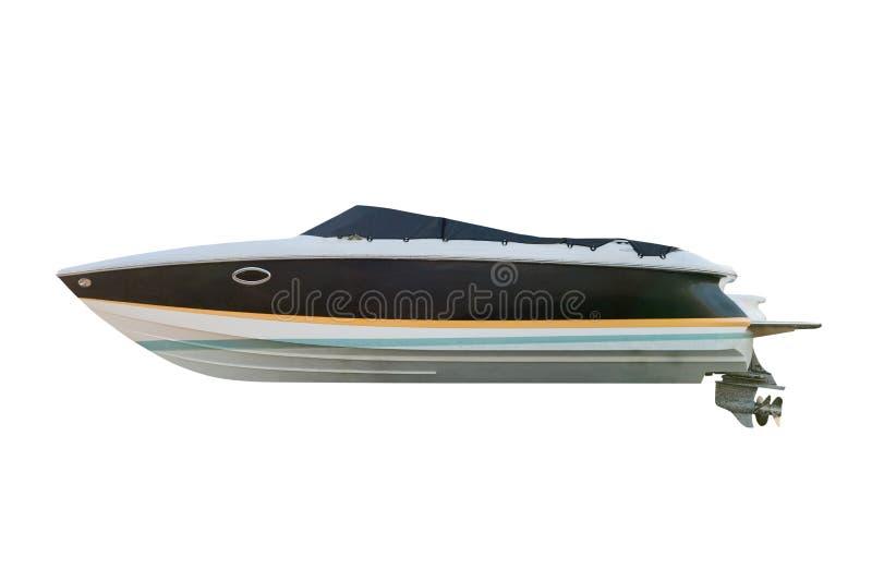 Motorboot lokalisiert auf weißem Hintergrund stockfotografie