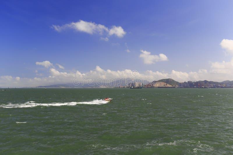 Motorboot van het gulangyueiland stock afbeeldingen