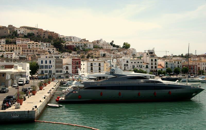 Motorboten In Ibiza Stock Foto