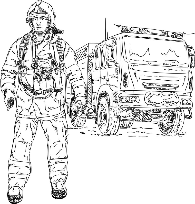 Download Motorbrandman vektor illustrationer. Illustration av kontur - 19790750