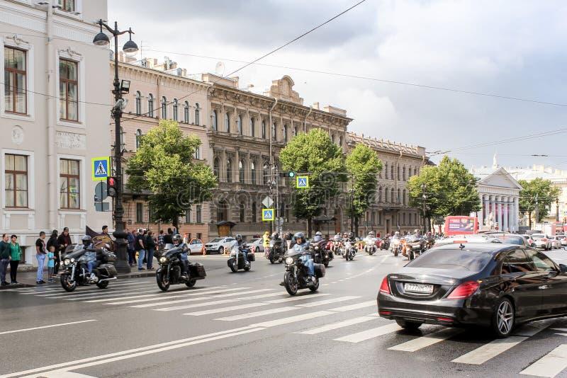 Motorcade passes St. Isaac`s Square stock image
