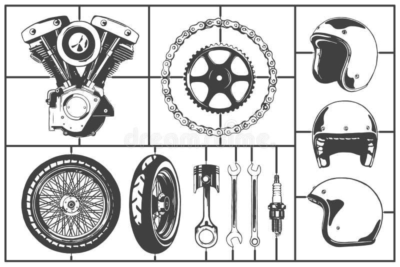 Motorcicle loga modelarscy elementy ustawiający Jedzie, toczy, przykuwa, gearwheel, hełm, tłok, wyrwanie, iskrowa prymka Rocznika royalty ilustracja
