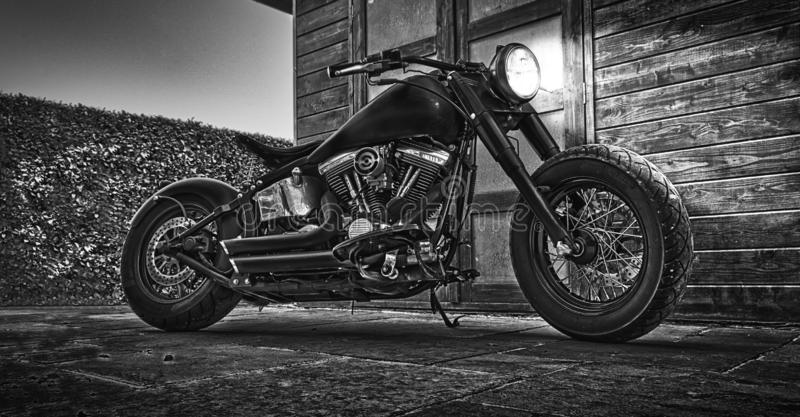MotorCicle noir et blanc photo stock