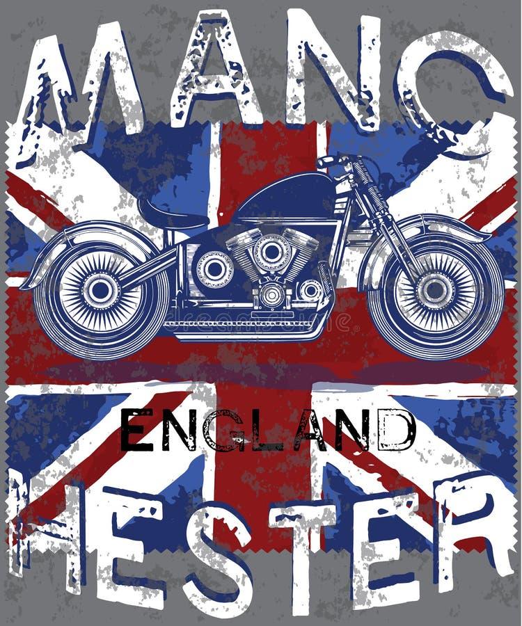 Motorclub Manchester met de Vlag van Engeland royalty-vrije illustratie