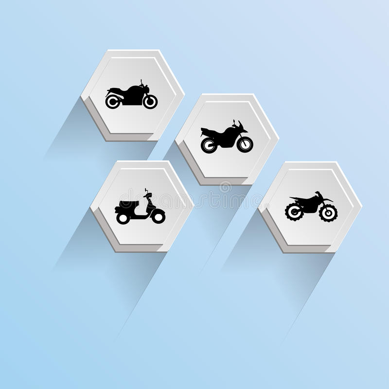 Motorcycle abstract of Hexagon background stock photo