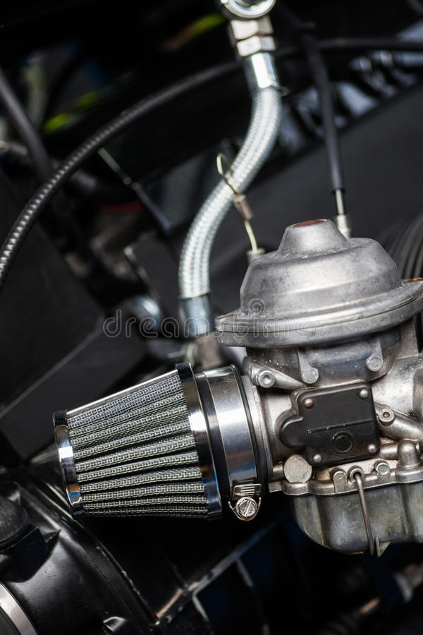 Motorcycle air filter and carburetor royalty free stock photography