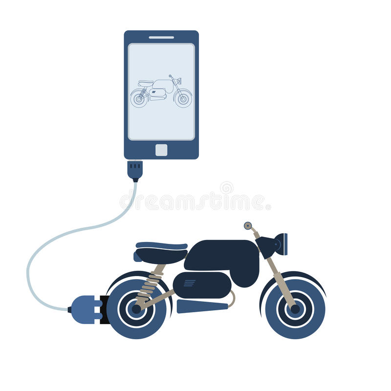 Motorcycle automation using cell phone. Motorcycle connected to a cell phone through a usb cable. Outline of the motorcycle being shown on the mobile monitor royalty free illustration