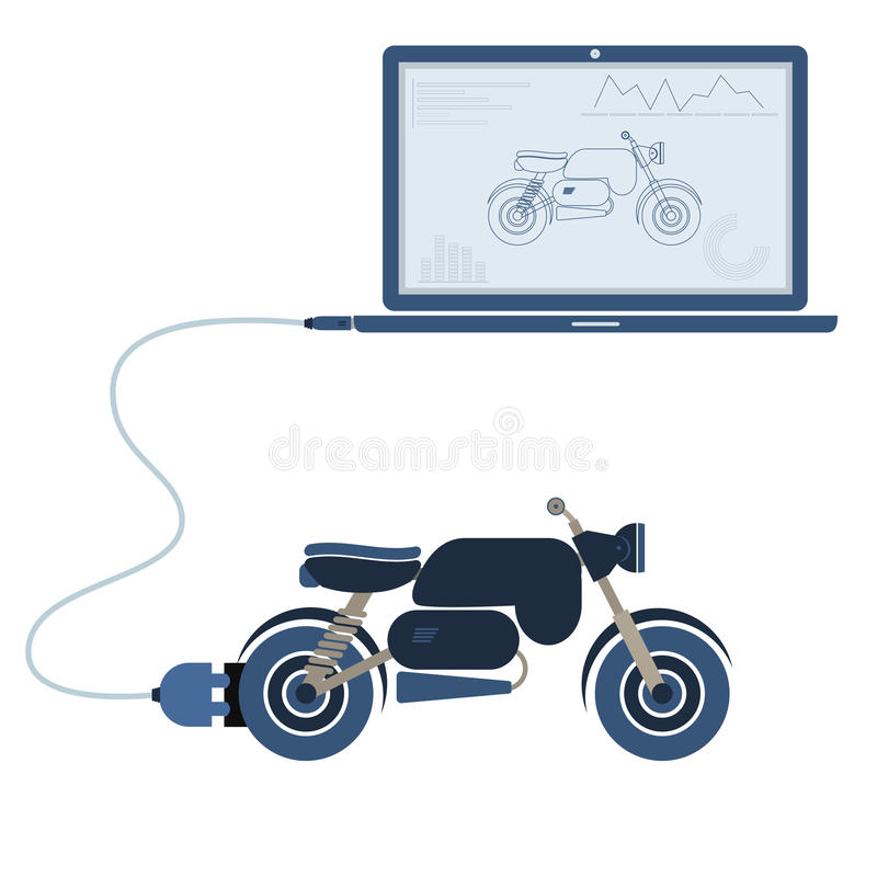 Motorcycle automation using laptop. Motorcycle connected to a laptop through a usb cable. Outline of the motorcycle and graphs being shown on the computer royalty free illustration