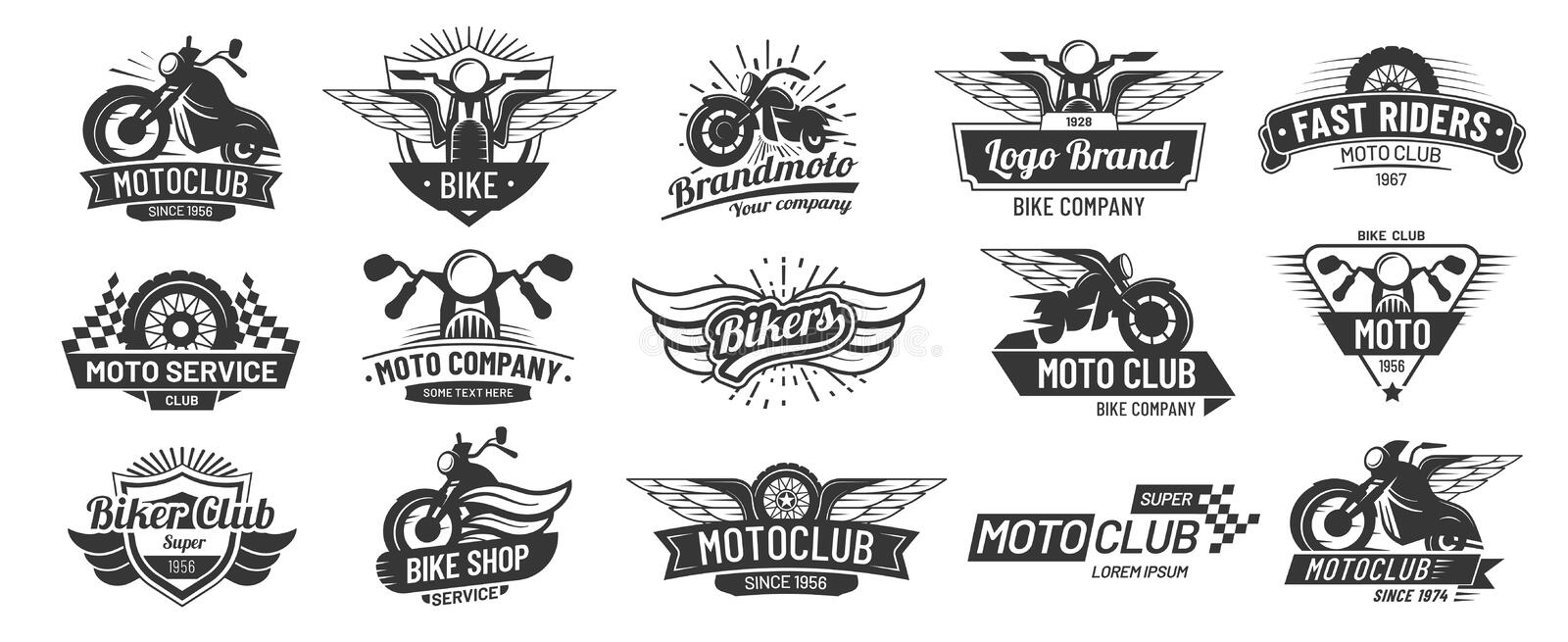 Motorcycle badges. Bikers club emblems, motorbike custom repair and wheel wings badge. Retro motorcycles motor emblem vector illustration