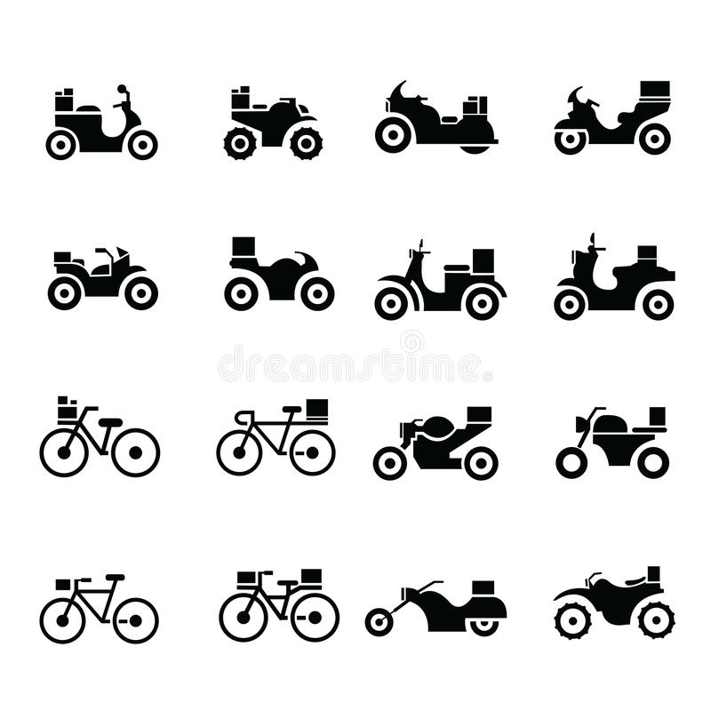 Motorcycle and bicycle, Transport Icons royalty free stock photo
