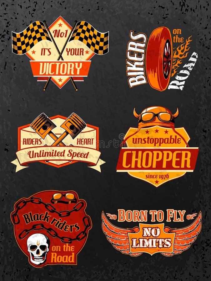 Motorcycle bike badges set vector illustration
