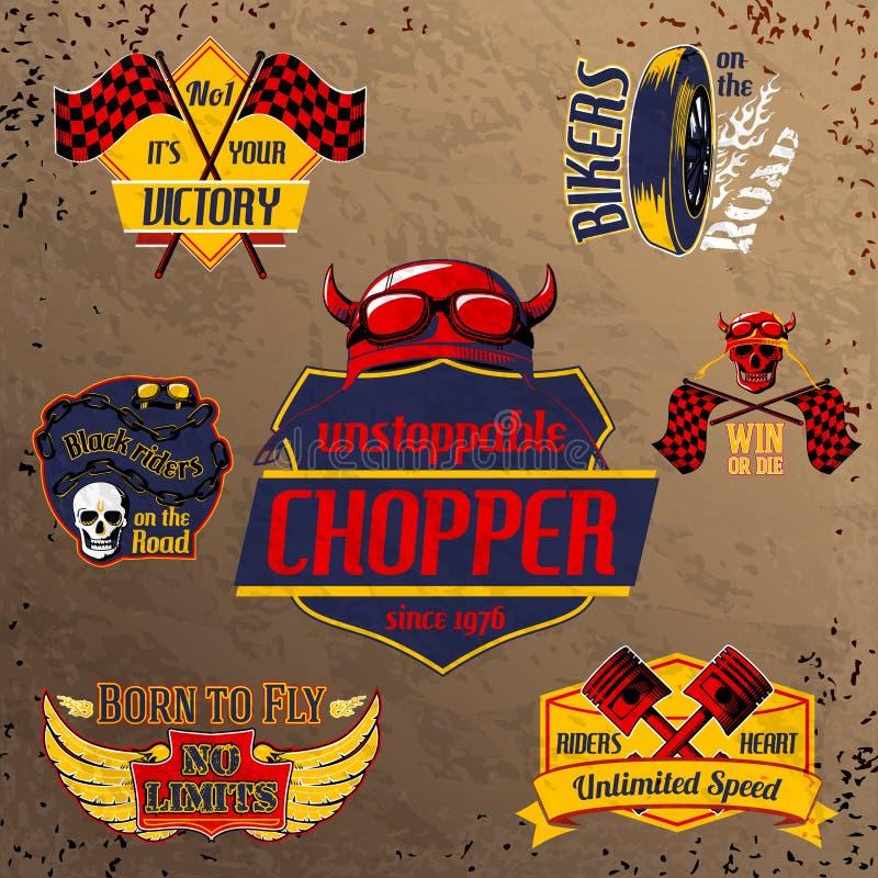 Motorcycle bike emblems set stock illustration