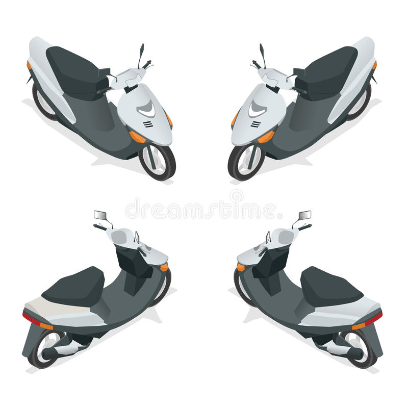 Motorcycle, bike, motorbike, scooter. Flat 3d isometric high quality city transport icon. Motorcycle, bike, motorbike, scooter. Flat 3d isometric high quality vector illustration