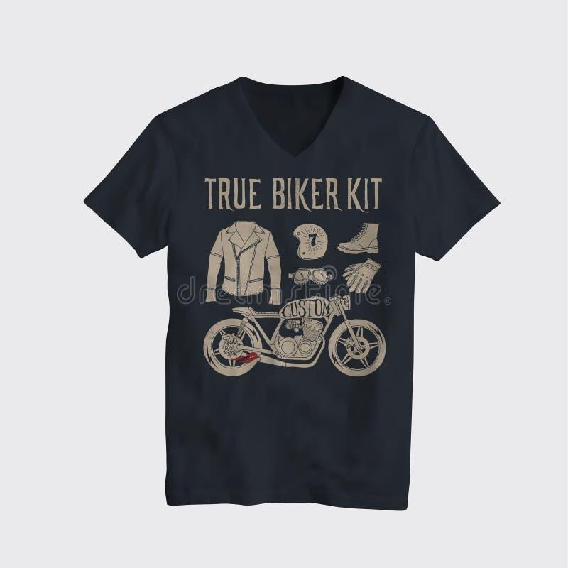 Motorcycle themed t-shirt design mockup. Vintage styled vector illustration. stock illustration