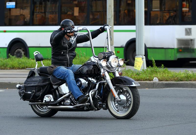 Motorcycle biker, ulitsa Kollontai, Saint Petersburg, Russia, September 2019 stock photo