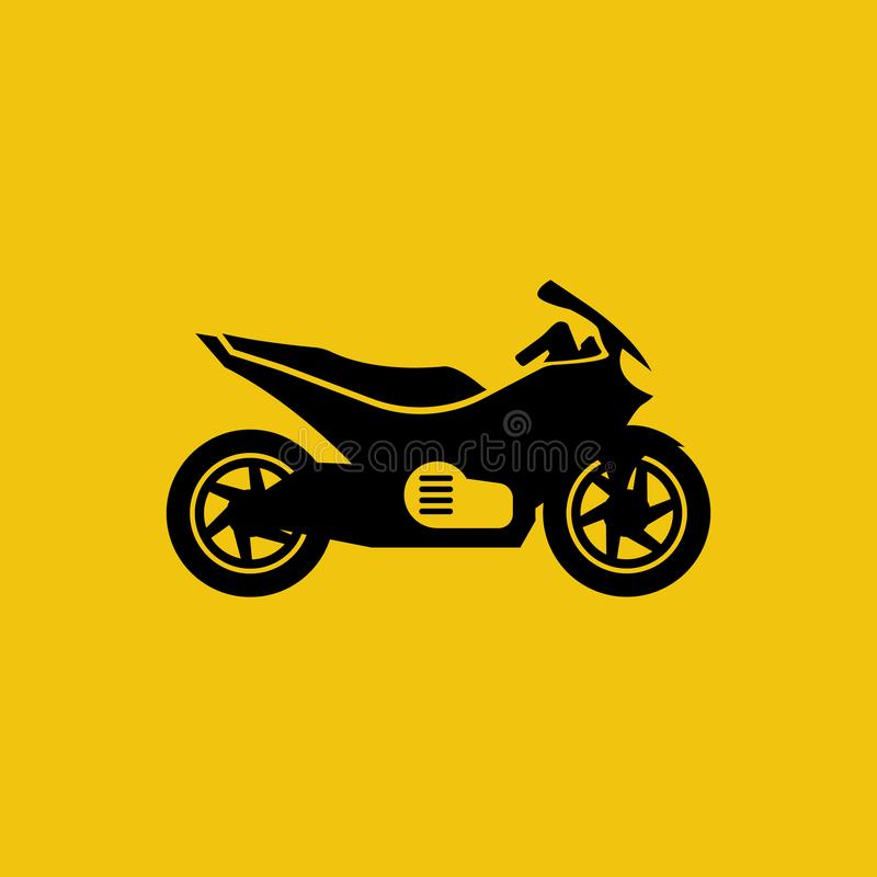 Motorcycle black icon isolated on yellow background vector illustration