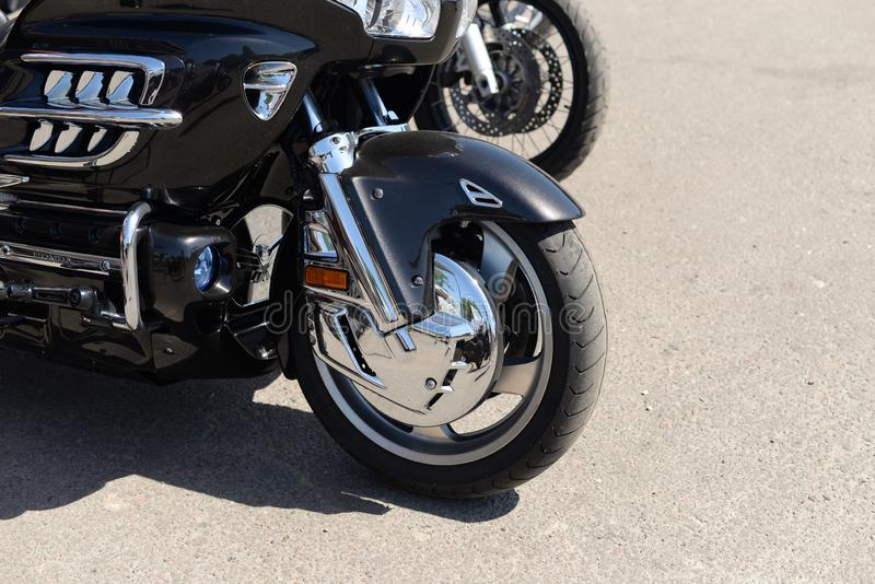 Motorcycle black wheel front part royalty free stock photos