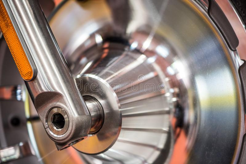 Motorcycle brake disc or drum. Close up of a motorcycle brake  disc or drum stock image