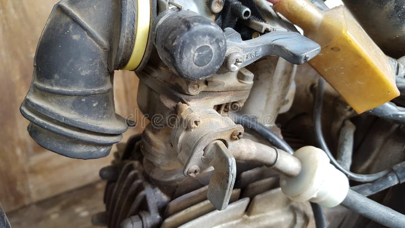 Motorcycle carburetor ned to be cleaned stock image