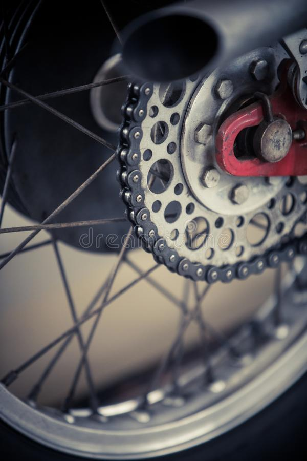 Motorcycle chain detail royalty free stock image