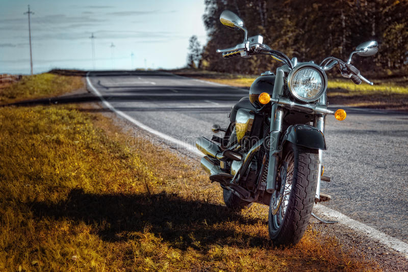 Motorcycle chopper on the roadside royalty free stock image