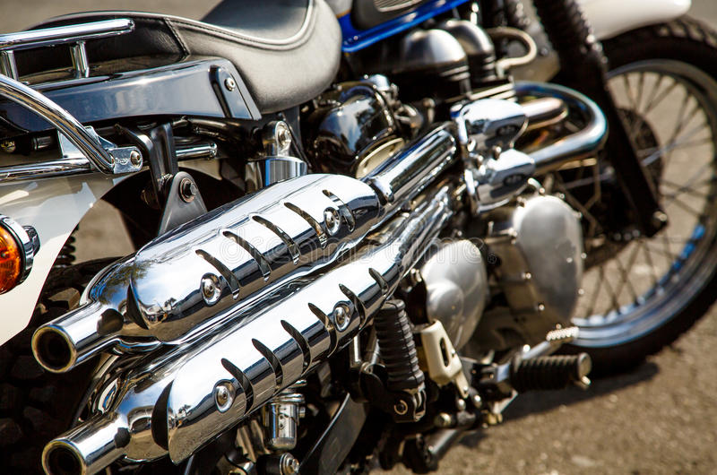 Motorcycle Chrome. Chrome pipes and trim on a nice motorcycle stock photos