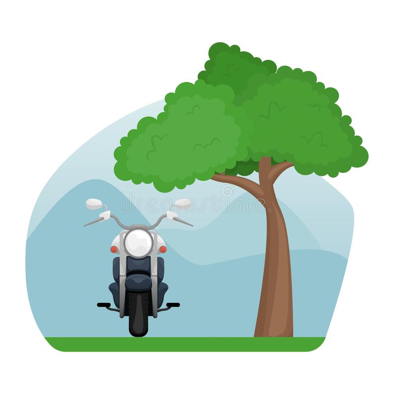 Motorcycle in a clearing near a sprawling tree. Isolated image stock illustration