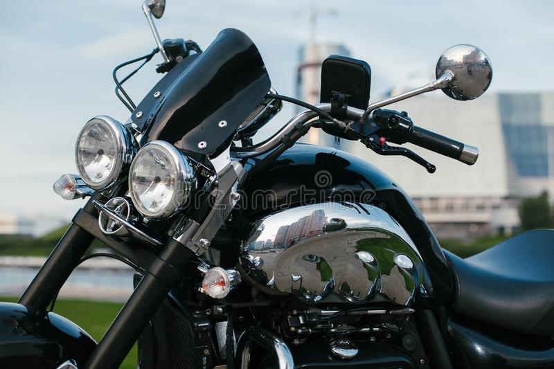 Black Roadster Motorcycle 4 stock images