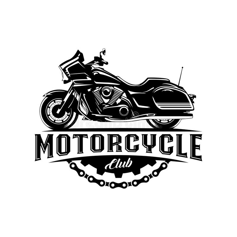 motorcycle club black with gear illustration label template stock