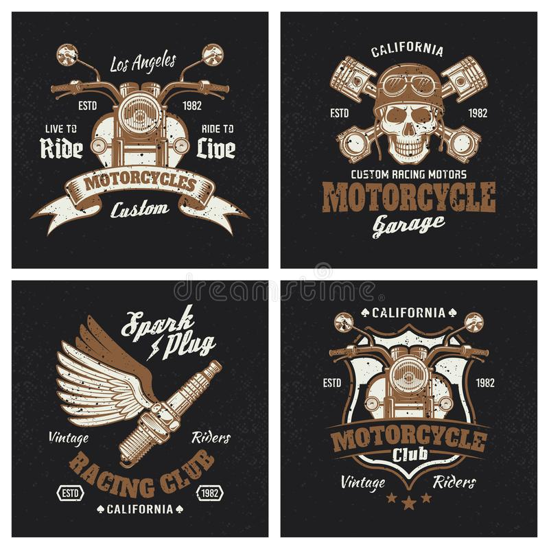 Motorcycle colored emblems or prints on dark vector illustration