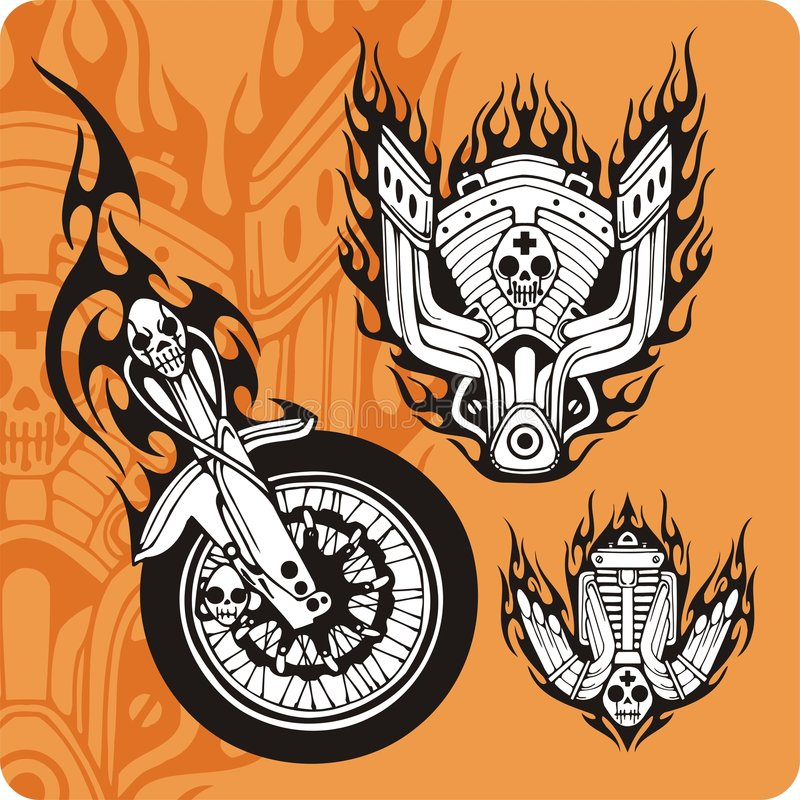 Download Motorcycle Compositions - Set 9 Stock Illustration - Image: 6518210