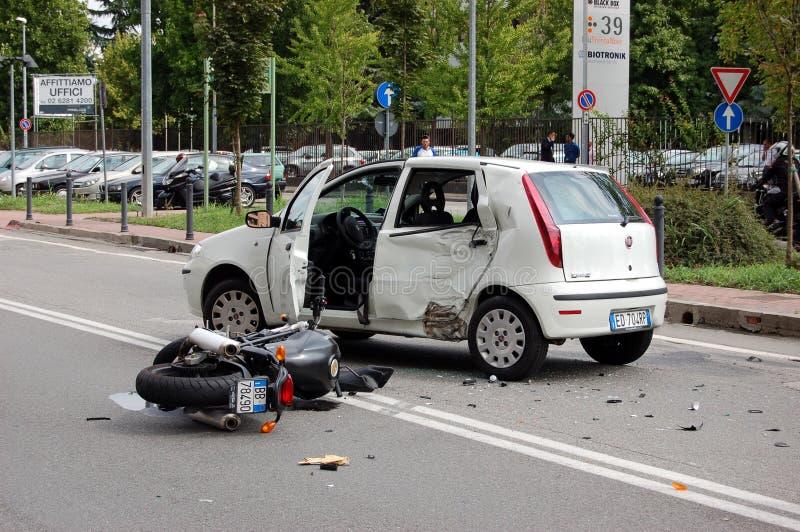 Motorcycle crash in urban area stock photo