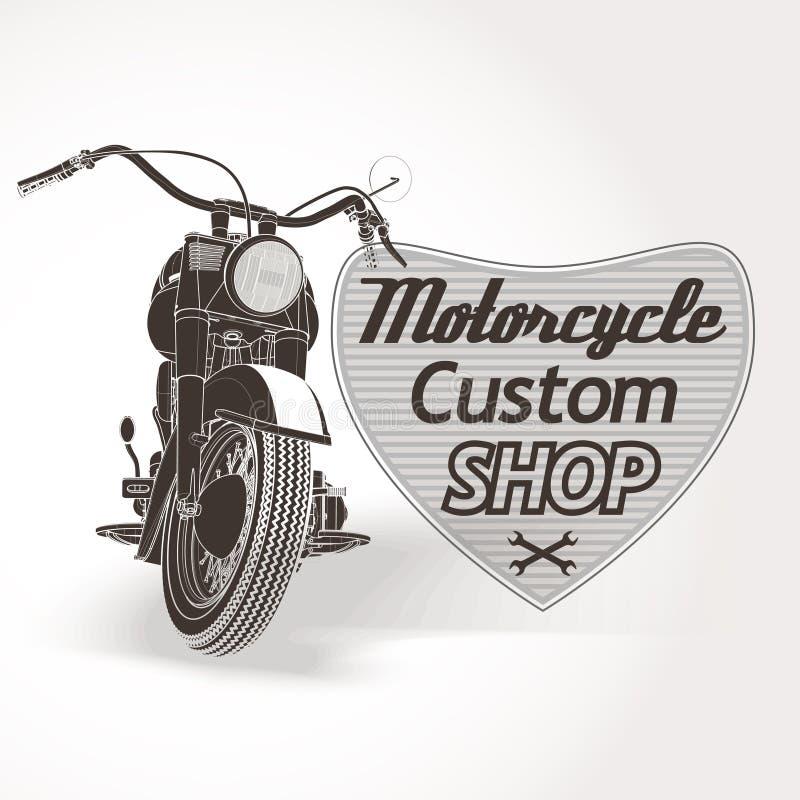 Motorcycle custom motor shop emblem. Vector vector illustration
