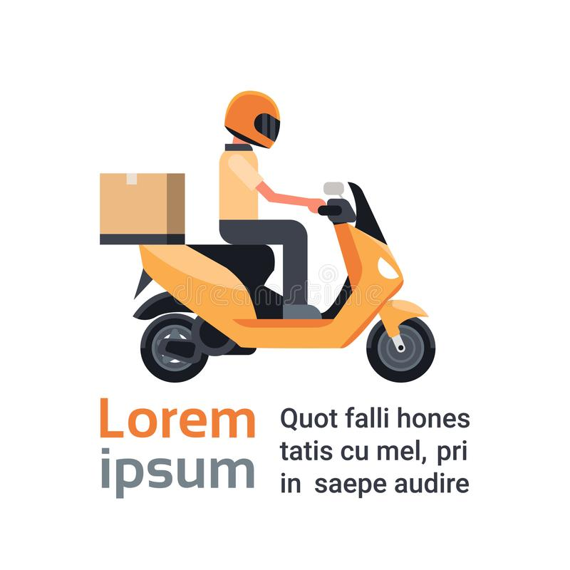 Motorcycle Delivery Service, Man Courier Riding Scooter With Box Parcel Over Template Background stock illustration