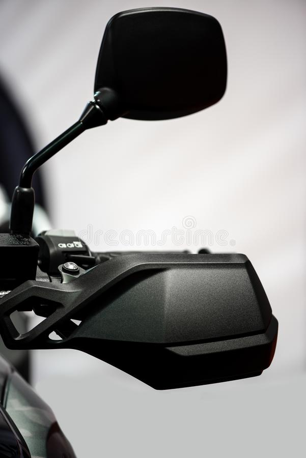 Motorcycle mirror and handle bar stock image