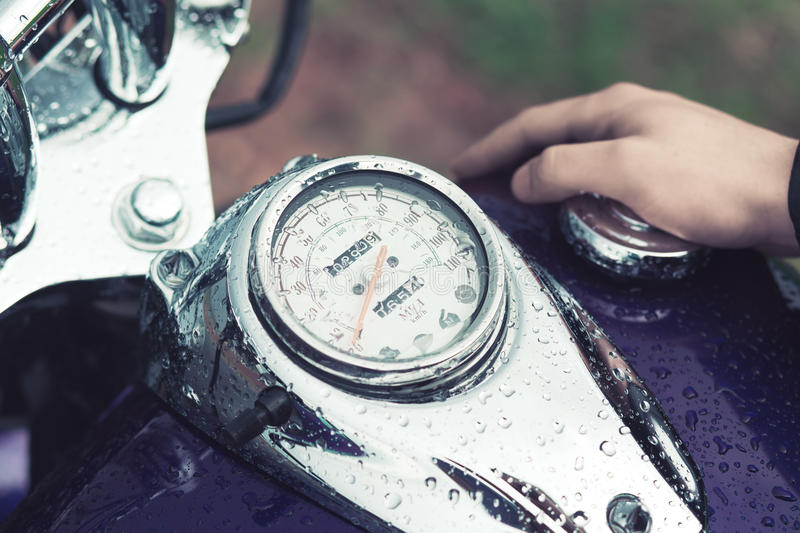 The motorcycle driver Stoke gas tank stock image